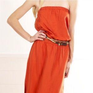 MICHAEL KORS Orange Strapless Tube Maxi Dress